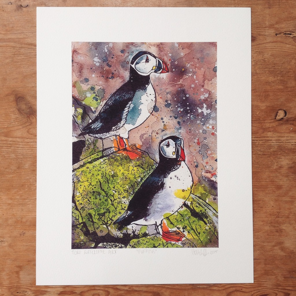 Puffins, commissioned portrait, A4 (sold)  - prints available in online shop
