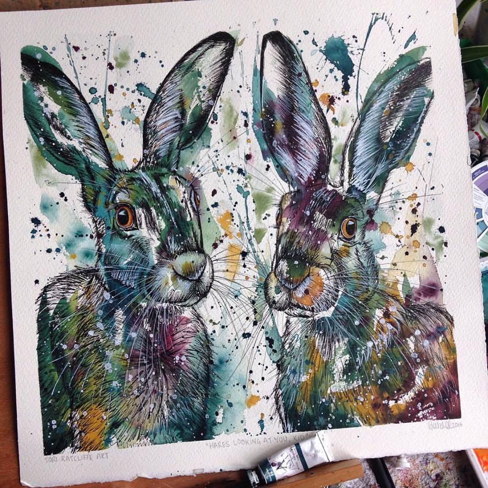 'Hares Looking at You , Kid', 60x60cm (SOLD)