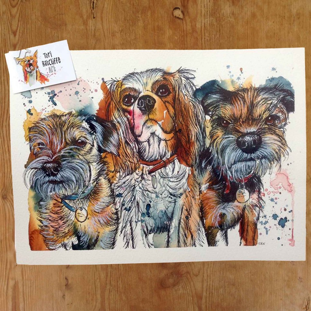 'The Three Amigos', commissioned pet portrait, A3 (sold)