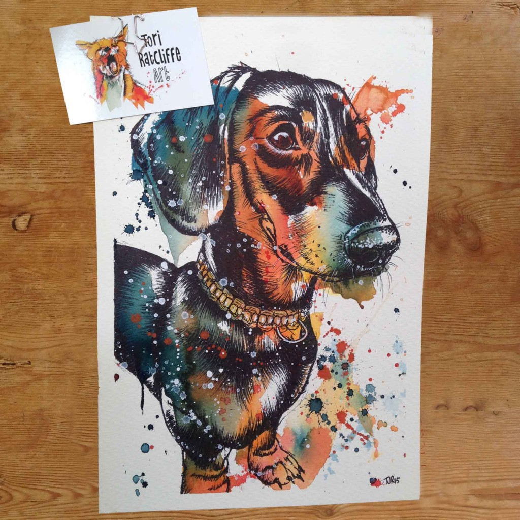 Monty the Dachshund, commissioned pet portrait, A4 (sold)