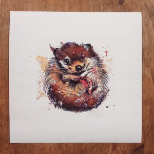 """Hedgehog, 6x6"""" (sold)  - prints available in online shop"""
