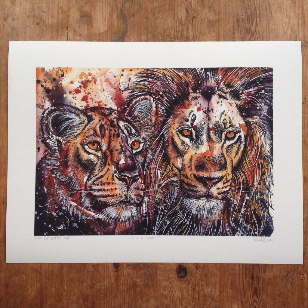 Lion and Lioness, A2 (sold)  - prints available in online shop