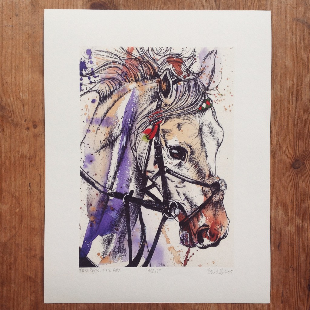 Flicker the Horse, commissioned pet portrait, A4 (sold)