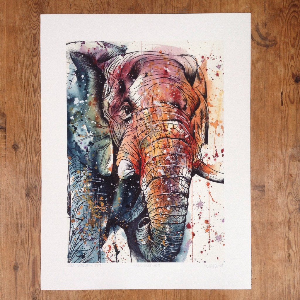 Pink Elephant, A2 (original painting for sale)  - prints available in online shop