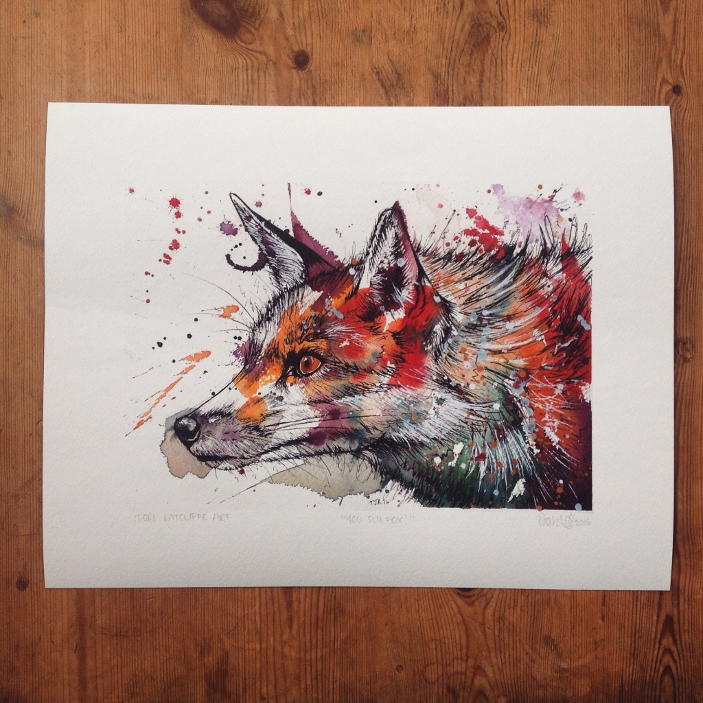 'You Sly Fox', A4 (original painting for sale)  - prints available in online shop